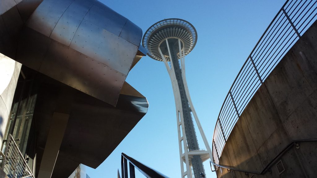 The Seattle Space Needle and the EMP Museum.